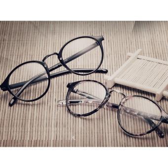 Gọng kính cận nam nữ Retro cao cấp họa tiết cá tính+Tặng bao da H168(đen)