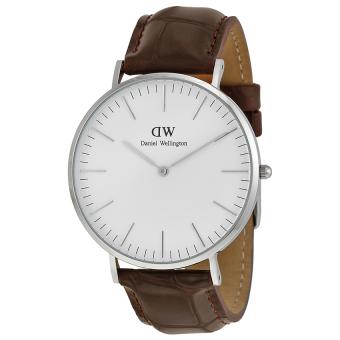 Đồng hồ nam dây da Daniel Wellington 0211DW (Trắng).