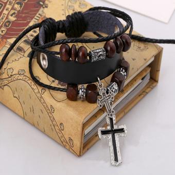 Vòng tay dây da thánh giá Retro (Đen)