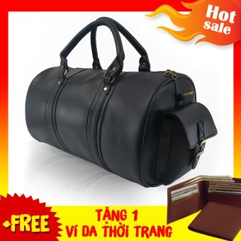 Túi Xách Du Lịch Da Cao Cấp TD004 (Đen ) + Tặng Ví Da Nam