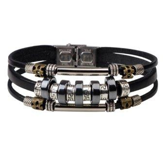 Unisex Punk Genuine Leather Bangle Alloy Wristband Cuff Bracelet (Black) - intl