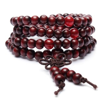 6mm*108 Sandalwood Buddhist Buddha Meditation Prayer Bead Mala Bracelet Necklace Red