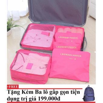 Bộ 6 túi du lịch chống thấm Bags in Bag (hồng đậm) + Tặng kèm balo du lịch gấp gọn