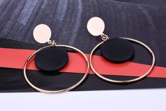 Bông tai vòng tròn to đen