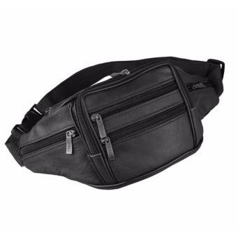 Túi da du lịch đeo bụng phối dây kéo (Đen)