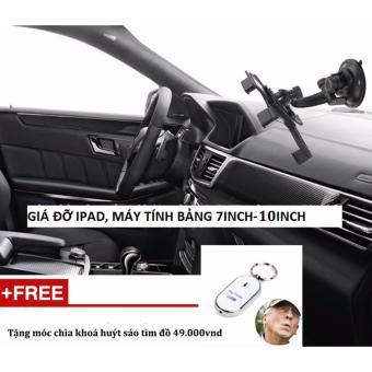 Giá đỡ ipad, máy tính bảng trên xe hơi + Tặng móc huýt sáo tìm đồ (Đen)