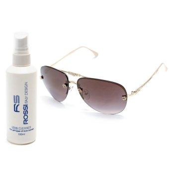 Bộ 1 kính mát nữ và 1 chai nước rửa kính MKH XL2222 (Vàng ánh Đen)