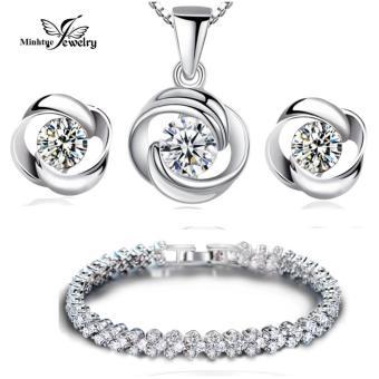 Bộ trang sức bạc 3 món đính đá MTJ110B