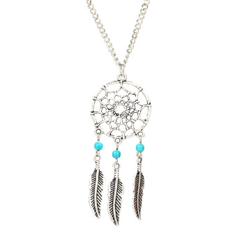 Turquoise Stone Bead Dreamcatcher Feather Charm Pendant Necklace