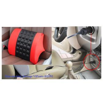 Đệm tựa lưng massage trên xe ô tô VIPauto-ĐTL02- Đen phối đỏ