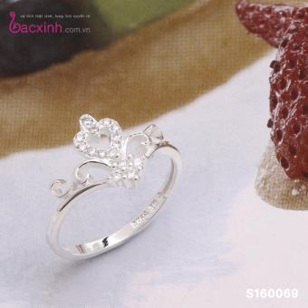 Nhẫn nữ trang sức bạc Ý S925 Bạc Xinh - Vương miện trái tim S160069 (size11)