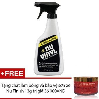 Dung dịch bảo vệ & phục hồi sáng bóng nội thất xe hơi Nu Finish Vinyl NV-300 473ml + Tặng chất làm bóng và bảo vệ sơn xe Nu Finish 13g