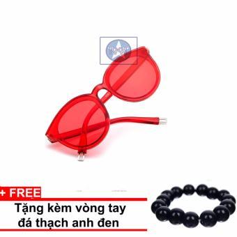 Kính mát Unisex Sino S2000 màu đỏ + Tặng kèm vòng tay thạch anh đen