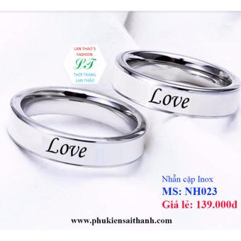 Nhẫn cặp Inox chữ LOVE yêu thương NH023 (Trắng)