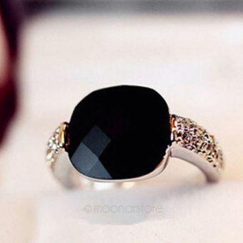 Moonar Women Black Agate Rhinestones Crystal Finger Rings
