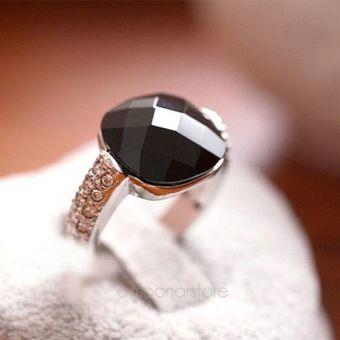 Mua Moonar Women Black Agate Rhinestones Crystal Finger Rings giá tốt nhất