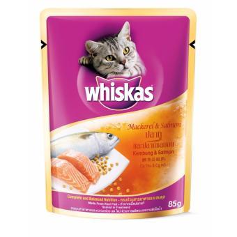 Bộ 10 gói Pate Cá thu và Cá Hồi cho mèo Whiskas Kembung & Salmon 85g