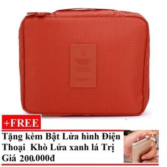 Túi đựng đồ cá nhân dành cho Nam (Nâu) + Tặng Bật Lửa Hình Điện Thoại