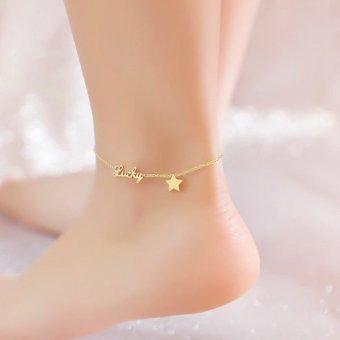 Lắc chân titan ngôi sao cách điệu chữ lucky vàng 24k