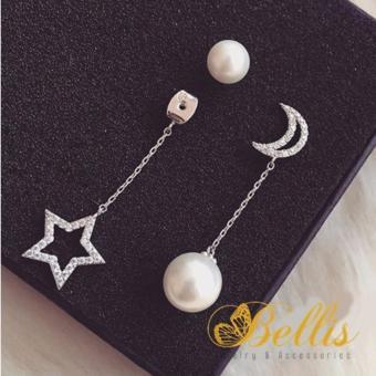 Bông tai bạc gắn ngọc trai Hàn Quốc trăng sao đính đá