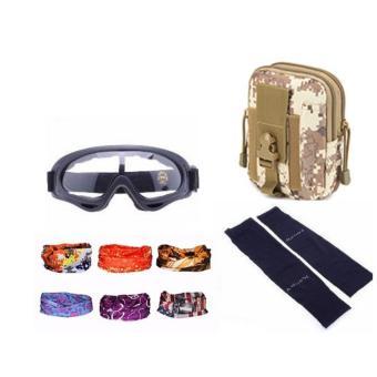 Bộ túi đeo hông + kính phi công + găng tay + khăn phượt