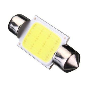 36mm COB 12 LED Car Festoon Light DC12V Pure White 2pcs - intl