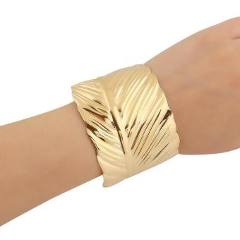 Leaf Shape Gold Plated Cuff Bracelet Bangle Party GIft Alloy Fashion - Intl