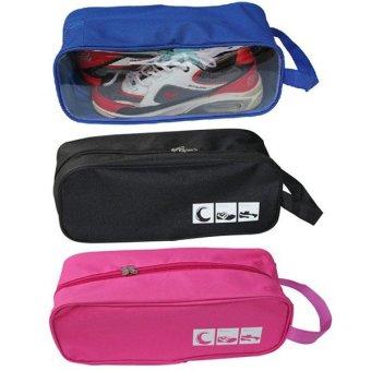 Bộ 3 túi đựng giày du lịch tiện dụng (Hồng + Xanh dương + Đen)