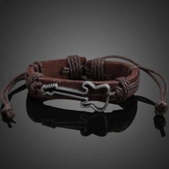 Unique Guitar Shape Girl Boy Braid Bracelet String Band Bangle Coffee(Intl)