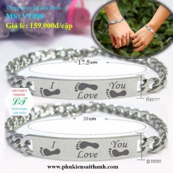Vòng tay cặp đôi Inox dấu ấn tình yêu VT098 (Trắng)