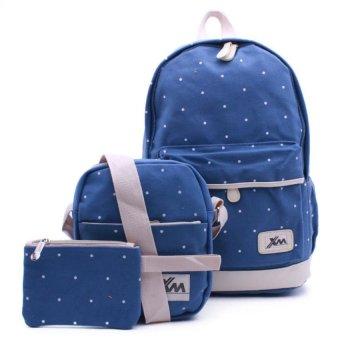 Bộ ba ba lô+túi đeo chéo+ví nhỏ Gg15 (xanh nhạt)