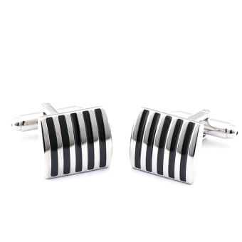 1 Pair Suit Shirt Modern Stripe Pattern Cufflinks buttons for Men's Gift (Intl)