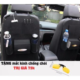 Combo 2 Túi bao đựng đồ sau ghế oto màu Đen TẶNG 1 Mắt kính chống chói cao cấp