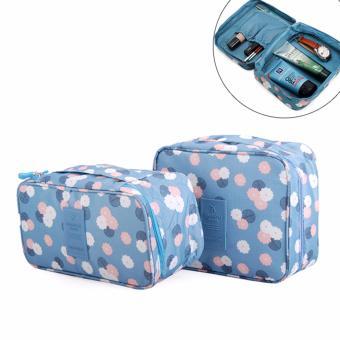 Bộ 2 túi đựng mỹ phẩm và đồ lót tiện dụng (hoa xanh)