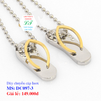 Dây chuyền Inox cặp đôi dép DC097-3 (Vàng Trắng)