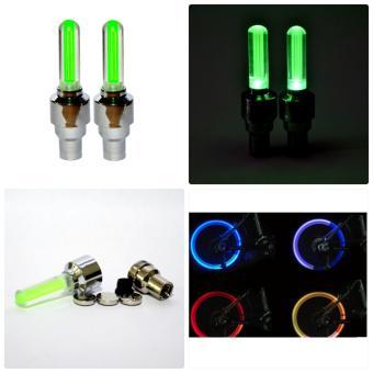 Bộ 2 đèn LED gắn van bánh xe đạp, xe máy, xe ô tô (Xanh lá)