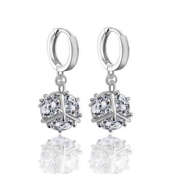 Bông tai mạ bạc trái châu đá Zircon lấp lánh thời trang SPE-ZRE179(Bạc)