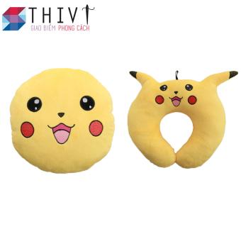Bộ gối tựa lưng, gối cổ Pokermon Go 06 - THIVI (Pikachu Vàng)