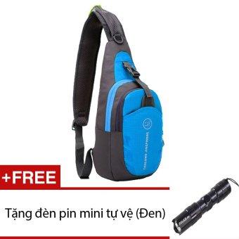 Ba lô du lịch đeo chéo 1 quai chống nước siêu nhẹ KF1QX (Xanh) + Tặng 1 đèn pin mini (Đen)