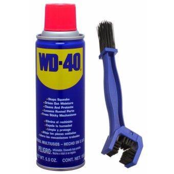 Chai xịt rửa sên, chống sét, phá rỉ sét WD - 40 412ml và bàn chải vệ sinh sên đa năng 3D