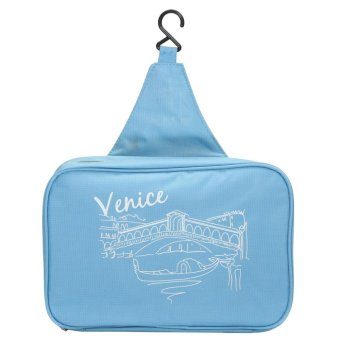 Stylish Folding Wash Bag Toiletry Makeup Travel Hanging Case Holder Organizer Blue - intl