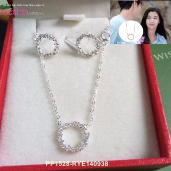 Bộ dây chuyền liền mặt và bông tai trang sức bạc Ý S925 Bạc Xinh - Huyền thoại biển xanh PP1528-RYE140938
