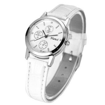 Đồng hồ nữ dây da cao cấp Nanci 2104 (Trắng mặt trắng)