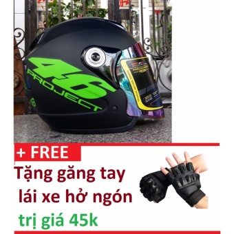 Mũ Bảo Hiểm Moto Napoli số 46 xanh lá + Tặng găng tay lái xe hở ngón trị giá 45k