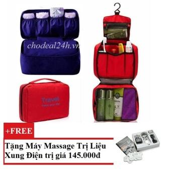 Bộ túi du lịch đựng mỹ phẩm và đồ lót cao cấp (Đỏ và Xanh đương) + Tặng Máy mát-xa xung điện trị liệu SYK 208 4 miếng dán (Trắng)