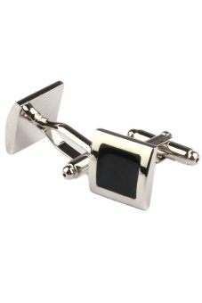 Silver Smooth Cuff Links Dress Wedding party Gift Cufflinks - intl