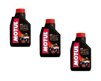 Bộ 3 bình nhớt tổng hợp cho xe máy, xe mô tô Motul 7100 4T 10W50 1L