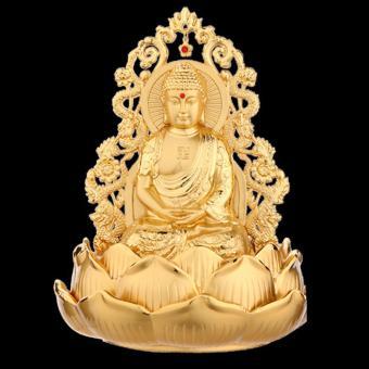 Tượng Phật Thích Ca Mâu Ni Kiêm Lọ Nước Hoa Trang Trí Ô Tô Rồng Vàng Cao Cấp F93 (B) (Vàng Kim)