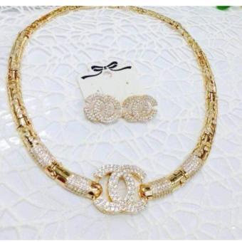 Bộ Trang Sức Xi Vàng 18K Kiềng Bông Tai Chanel Lớn _ K100601 Gadoshop