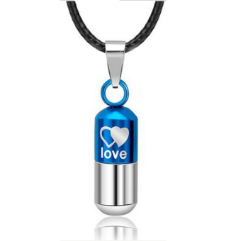Stainless Love Pill Ash Keeper Capsule Tablet Pendant Necklace Chain Unisex - Intl